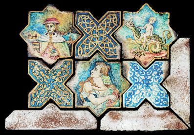 SAINT FRANCIS TILES: These fully hand painted tiles, are true replicas from those used to pave the St. Francis Church in Deruta, Italy, back in the year 1524, as they are individually hand made using the same technique as that of the anonymous painter of Deruta.