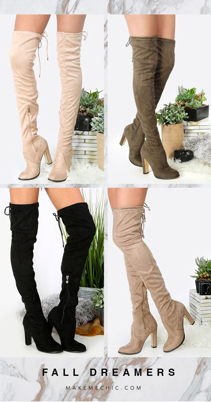 Thigh High Chunky Heel Boots BLACK