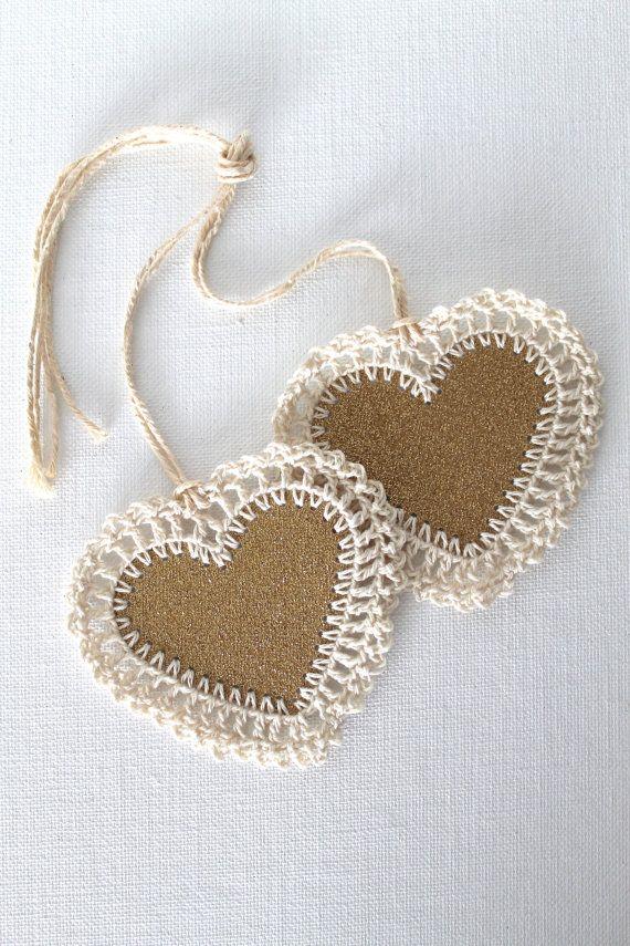 glitter heart tags with crochet edge