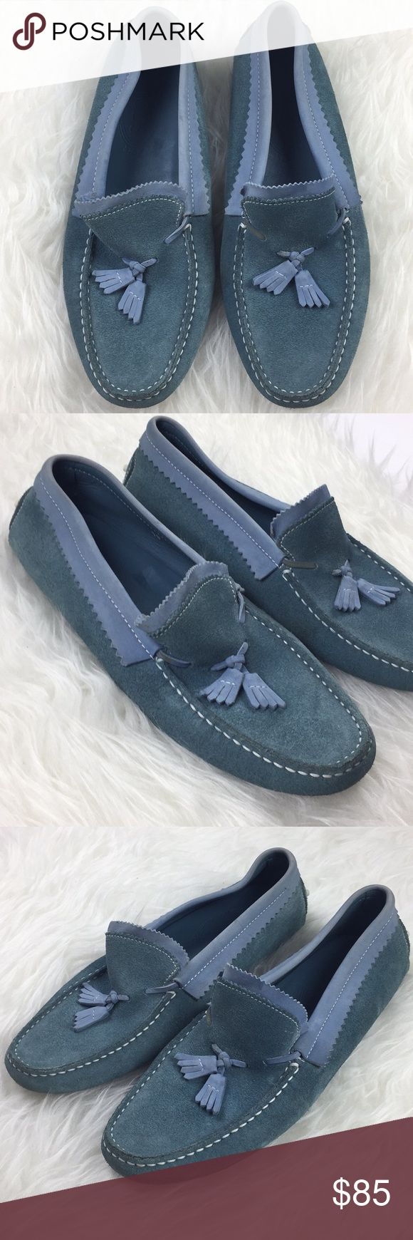 Tods Driving Moccasin Tassel Loafers Size 10 Tods Tassel Blue Suede Loafers Size 10 (similar to robins egg blue) - Made in Italy - Driving Shoes - wear on both soles (including rubber traction) and black markings on both soles shown in pictures - no major Suede markings except for close up marks in last picture - insoles in great condition -let me know if you have any questions on the color as different phones and computer screens may vary Tod's Shoes Flats & Loafers