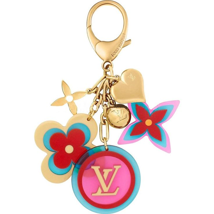 * Colored resin and gold-finish brass * Part of the Candy collection Description: The Candy collection comes in playful shapes and mouthwatering colors. This girlie bag accessory features Monogram flowers and LV charms in resin and gold-finish brass.