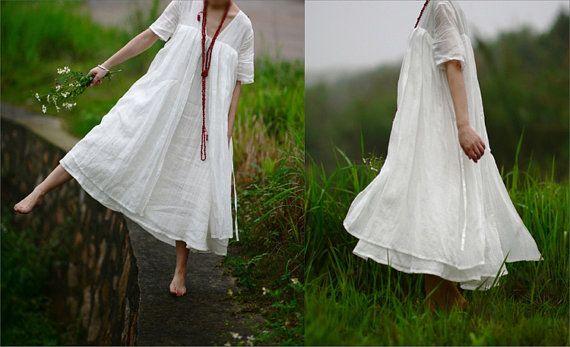 Maxi Dress In White - Summer Dress - Linen Sundress for Women Short Sleeved