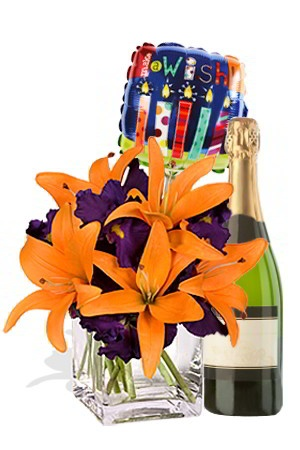 Delightful    This Delightful gift is catered to those of us whose sole aim is to delight people. Send this nice, sunny bouquet of bright orange Asiatic Lilies and Lush purple Iris in combination with an equally nice bottle of sparkling wine and we will add a FREE 18cm air Balloon to your order making your gift delightfully decadent. Inform us if you are celebrating a special occasion and we will choose a suitable Balloon.