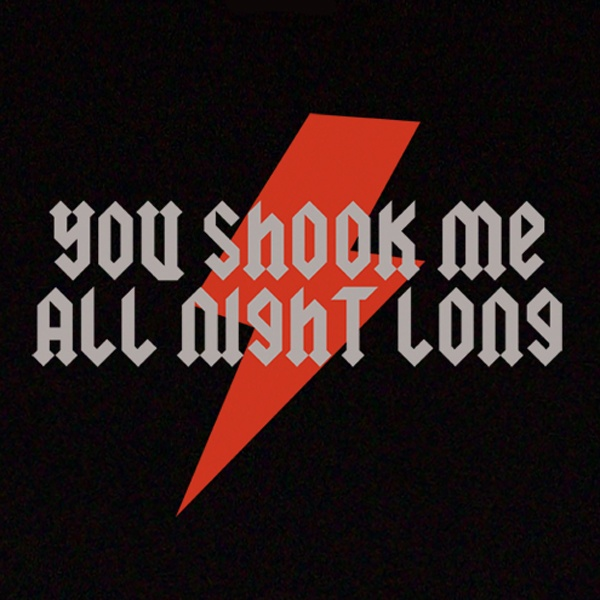 AC/DC You Shook Me All Night Long T-Shirt design. Available in Mens, Womens and Kids sizes.