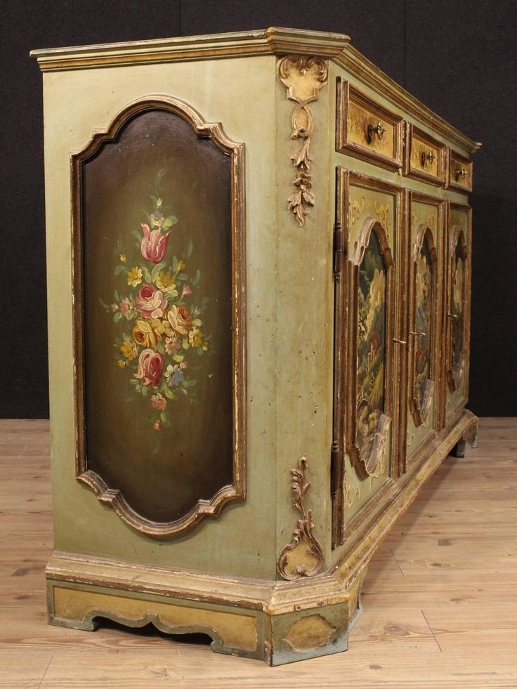 20th Century Italian Lacquered, Golden and Painted Sideboard | From a unique collection of antique and modern sideboards at https://www.1stdibs.com/furniture/storage-case-pieces/sideboards/