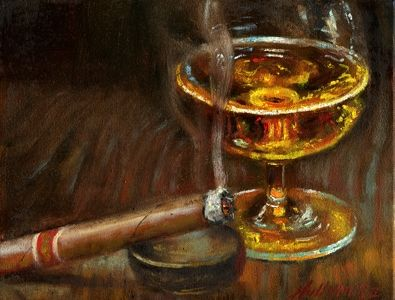 Whiskey with Cigar 8x10 in. Original Oil on canvas painting HALL GROAT II, painting by artist Hall Groat II