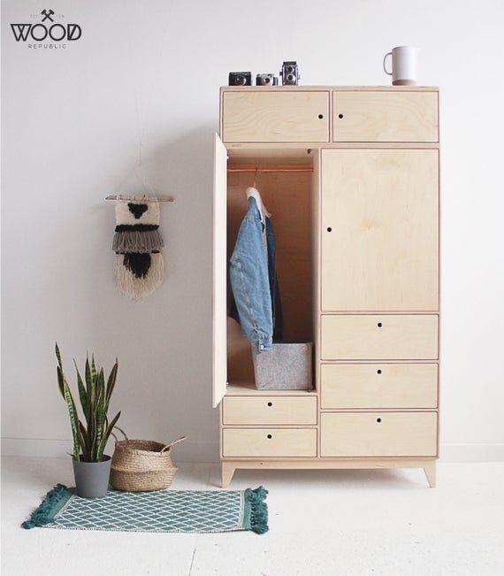 Baba 4 Garde Robe En Contreplaque Fait A La Main Etsy Plywood Cabinets Furniture Kids Bedroom Furniture