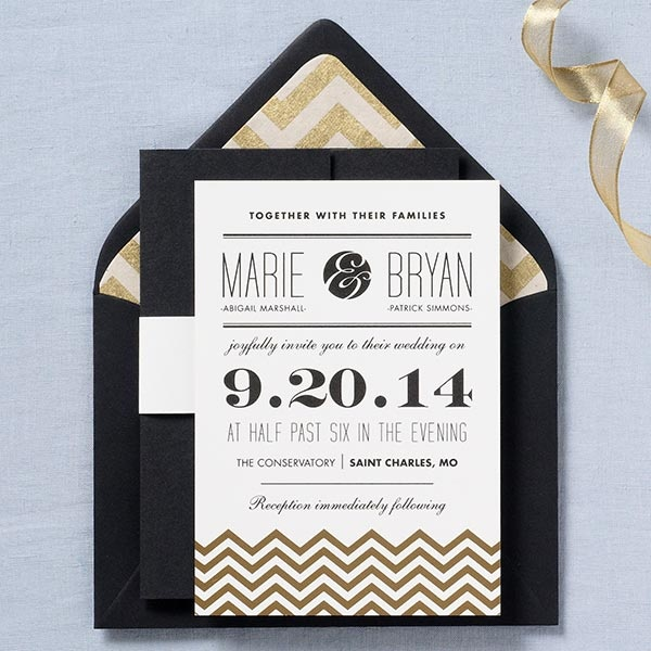 Gold Chevron wedding invitation