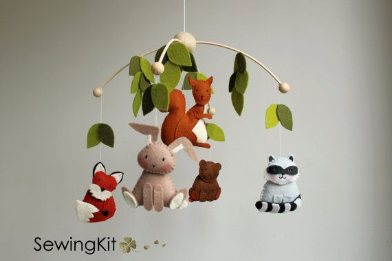 baby mobile, woodland mobile, forest animal mobile, wool felt mobile, forest creatures mobile, raccoon, squirrel, bear, bunny, fox,