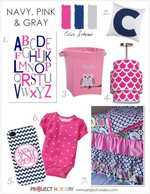 Navy, Pink and Gray Nursery Design Board - #projectnursery