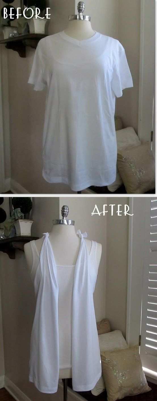 T-shirt Modifications... a whole page of inspiring ideas for your old shirts #tshirt #diy