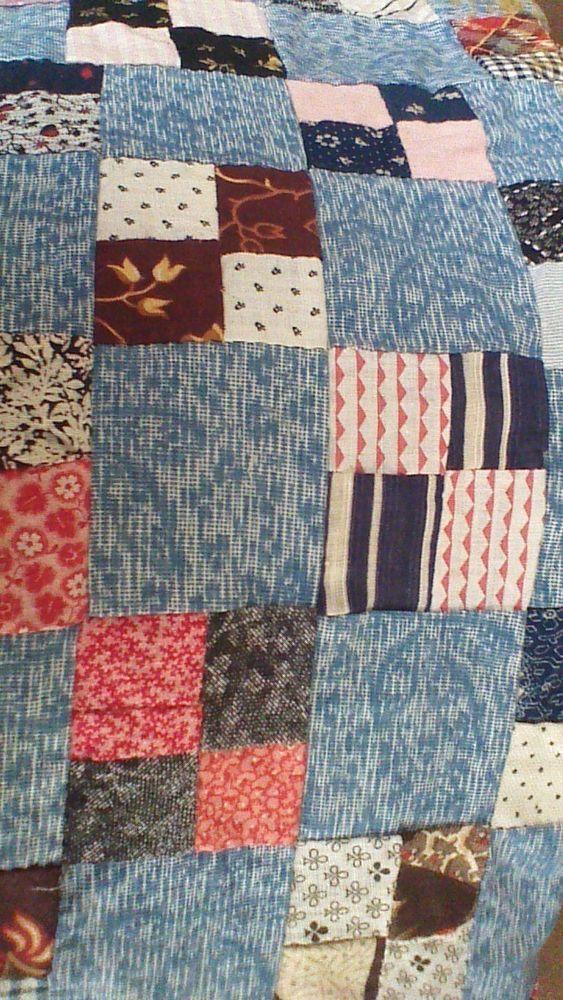 Antique Quilt Top Handstitched Blue, eBay, maizey1845