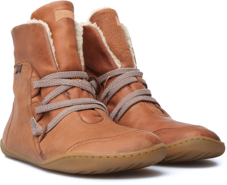 Womens Boots Camper Peu Cami Brown Leather Slip On Fleece Lined Sneaker  Boots