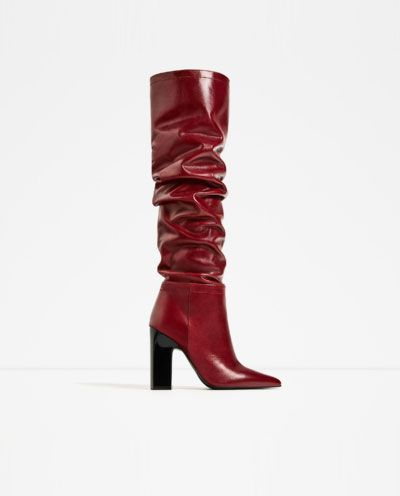 LEATHER HIGH HEEL BOOTS WITH WIDE LEG