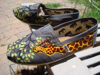 I wonder if I am talented enough to decorate a plain pair of Toms w/ acrylic paint and have them turn out like THESE!