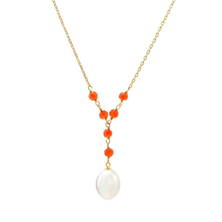 14k Gold White Freshwater Pearl and Carnelian Y Necklace