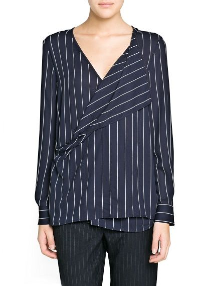 Pinstripe wrap blouse