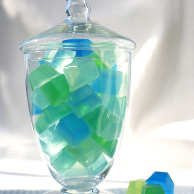 Colored soap cubes