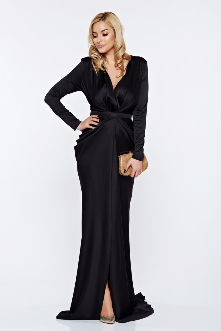 Ana Radu black occasional long sleeved dress accessorized with tied waistband, accessorized with tied waistband, long sleeves, elastic fabric, wrinkled fabric, satin fabric texture, back zipper fastening