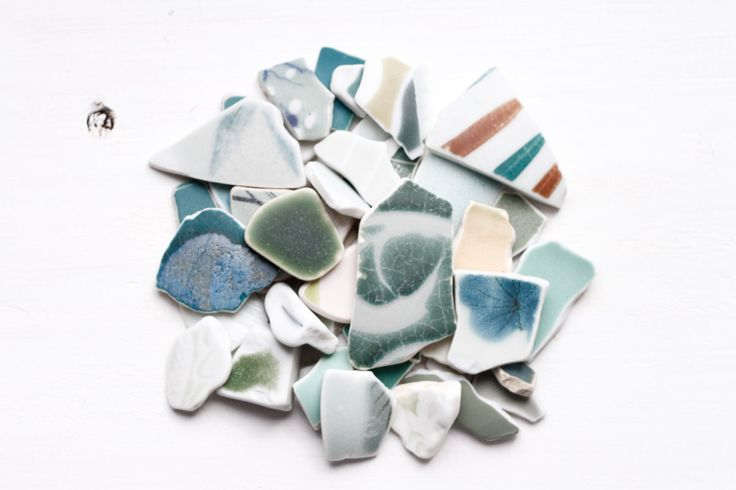 Bulk 50 Pieces of Japanese Green Pottery,Beach Pottery,Coastal Home Decor,Antique,Craft Pottery Ceramic,Japanese Vintage Design, Mosaic by ReverseGem on Etsy