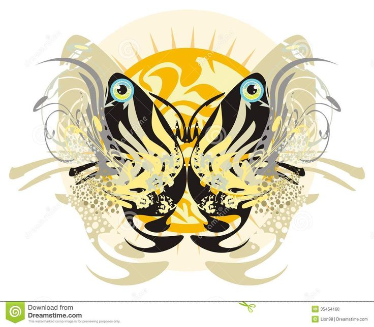 Floral Tribal Butterfly And Rising Sun Stock Photo - Image: 35454160