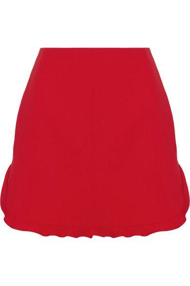 Miu Miu - Ruffle-trimmed Cady Mini Skirt - Red - IT36