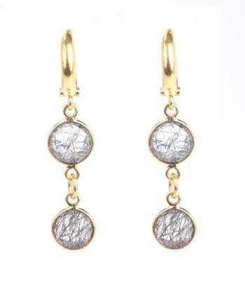 925 Ayar Gümüş Kuvars Taş Sallantılı Küpe, Sarı