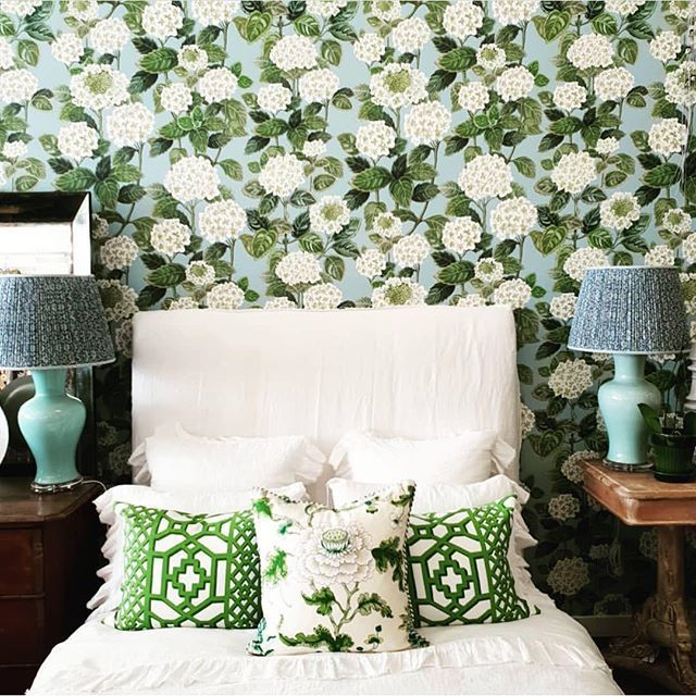 Bethany Linz On Instagram Hydrangea All Over Wallpaper Looking Just Perfect In Magnoliainteriors Shop In Bri Hydrangea Wallpaper Perfect Wallpaper Wallpaper