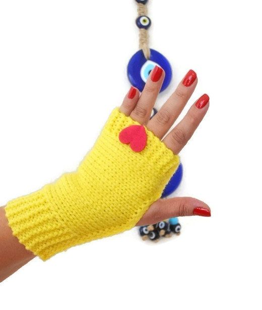 FINGERLESS Yellow with pink felt heart Fingerless Gloves, Wool Mittens, Arm Warmers , Hand Knitted, Eco Friendly , Winter Accessories