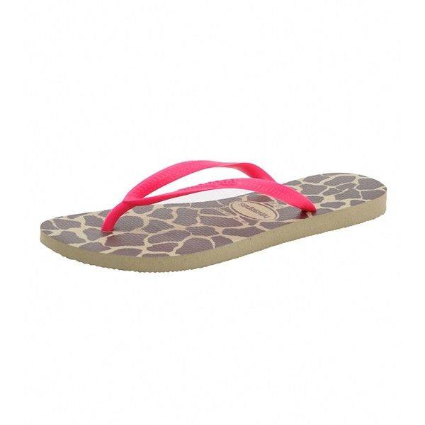Havaianas Womens Slim Animals Fluo Flip Flop ($15) ❤ liked on Polyvore featuring shoes, sandals, flip flops, neon shoes, giraffe print shoes, animal print flip flops, animal print shoes and round toe shoes