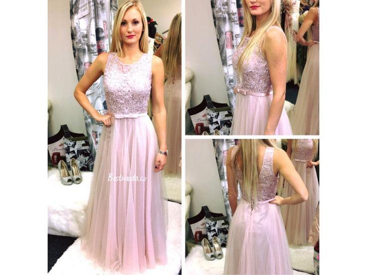 Luxusní společenské šaty Christine, k DODÁNÍ IHNED - Bestmoda - Lilac prom dress with lace and bright glitters in stock