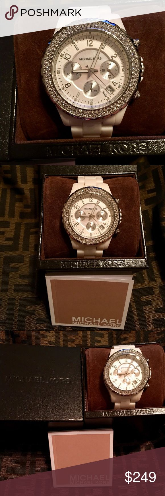White Ceramic Michael Kors Timepiece This Timepiece is all Ceramic that features a Mother of Pearl Dial with  Crystals around the Bezel and inside the Dial. It's a Chronograph and  has a Date window. It is Water resistant up to 5 ATM ( 165 ft ) so it can be worn in the shower and in the pool. Make me an offer! Happy Shopping 💎⌚️⚪️ Michael Kors Jewelry