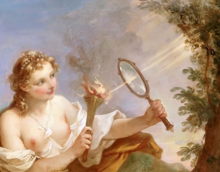Playing with magnifying glasses may be how Cupid became blind.  (Charles-Joseph…