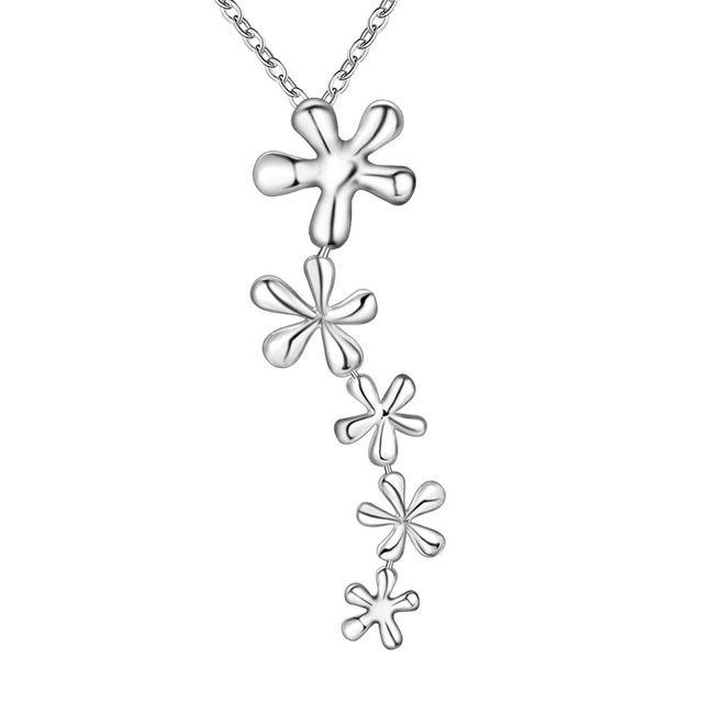 Оптовая посеребренные шарм jewelrys Ожерелье, бесплатная доставка 925 штампованные ювелирные изделия кулон Снег сплайн AN283/banajrua