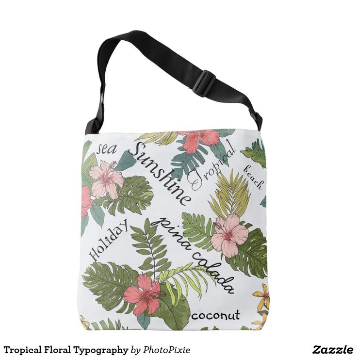 Tropical Floral Typography Over Shoulder Tote Bag