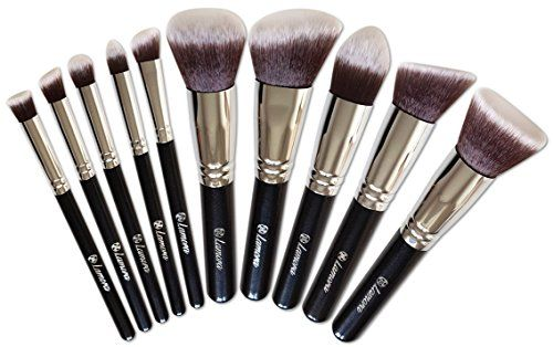 Makeup Brush Set  Foundation Kabuki Powder  Blush Concealer Kit  Premium Synthetic Bristles  10 Piece Collection With Eye and Face Cosmetic Brushes  Eyeliner Contour Bronzer Eyeshadow  Perfect For Liquid Cream or Minerals Products * Click image for more details.