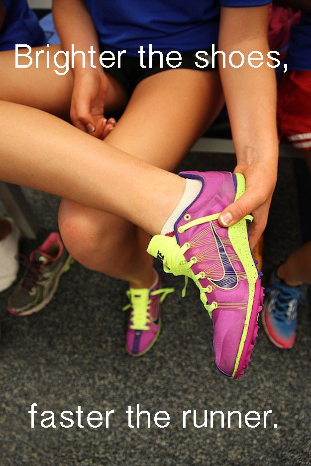 Getting nervous if the runner next to you has bad-ass flats. | 25 Things Only Track And Field Runners Can Understand