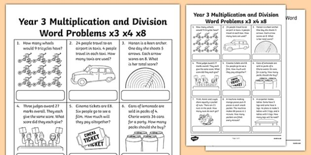 Year 3 Multiplication And Division Word Problems 3 4 8 Worksheet Multiplication Word Problems Division Word Problems Word Problems Short division worksheet twinkl