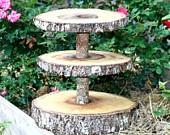 Rustic wedding decoration, cupcake stand, tree slice, woodland, center piece