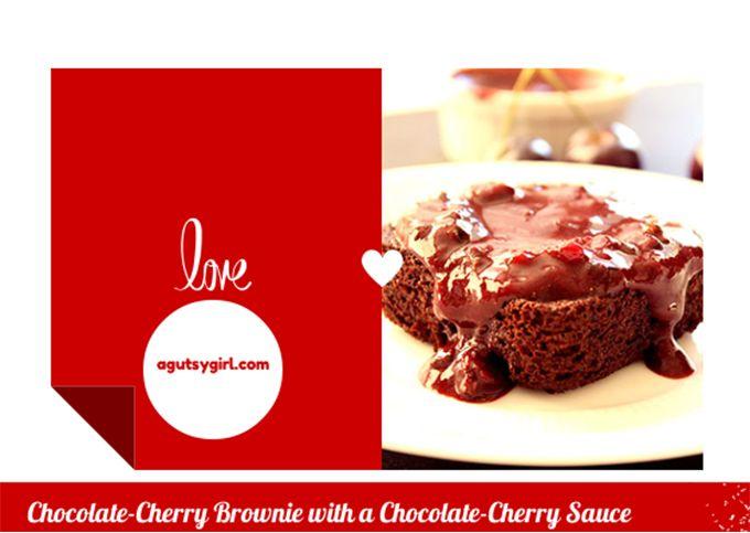 Chocolate-Cherry Brownies with a Chocolate-Cherry Sauce -