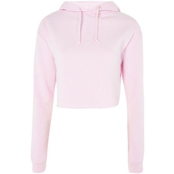 TopShop Cropped Hoodie ($45) ❤ liked on Polyvore featuring tops, hoodies, pink cropped hoodie, cut-out crop tops, pink crop top, cropped hoodies and sweatshirt hoodies