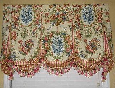 Custom Valance French Country Waverly Toile Balloon Window Treatment Curtain New | eBay - Sooooooo pretty!!!