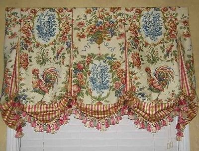 Custom Valance French Country Waverly Toile Balloon Window Treatment Curtain New | eBay - Sooooooo pretty!!!