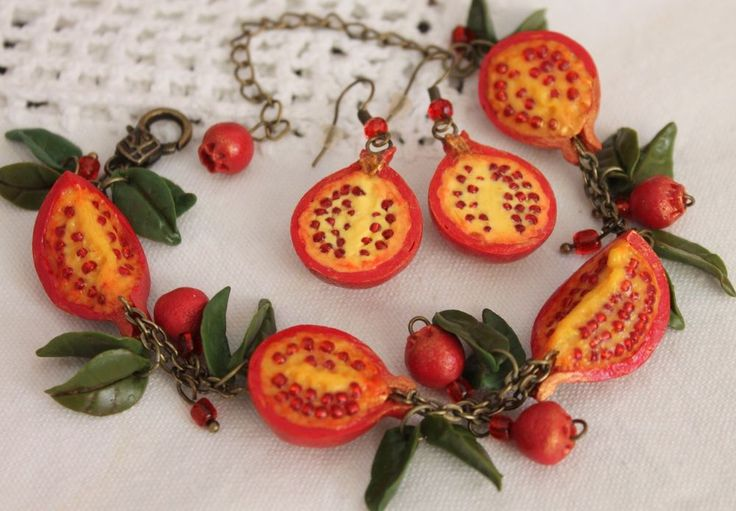 Jewelry Set Bracelet & Earrings / Pomegranate / Handmade / Polymer clay | Jewelry & Watches, Handcrafted, Artisan Jewelry, Sets | eBay!