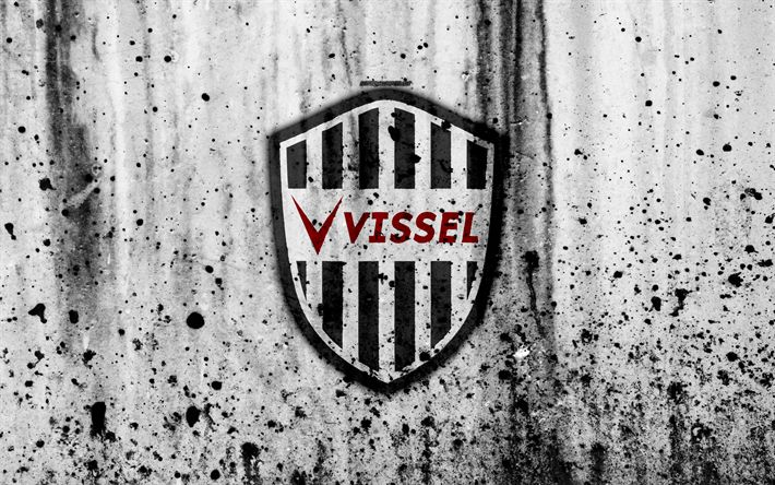 Download wallpapers FC Vissel Kobe, 4k, logo, J-League, stone texture, Japan, Vissel Kobe, soccer, football club, Vissel Kobe FC