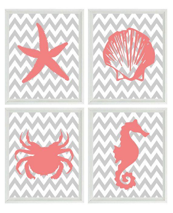 Beach Nautical Chevron Sea Creature Art Print Set - Pink Gray Nursery Girl - Crab Shell Starfish Seahorse  - Wall Art Home Decor Set 4 8x10. $50.00, via Etsy.