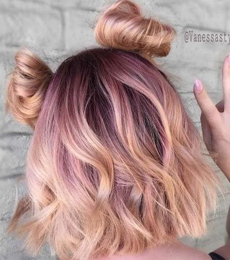 rose gold blonde. pink hair. beauty.