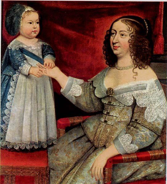 Louis XIV bébé et sa mère, Anne d'Autriche, vers 1638