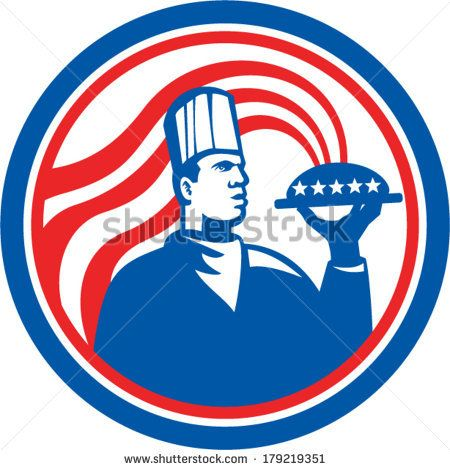 Illustration of an American chef, cook or baker holding serving plate platter of food set inside circle with stars and stripes done in retro style. #chef #laborday #retro #illustration