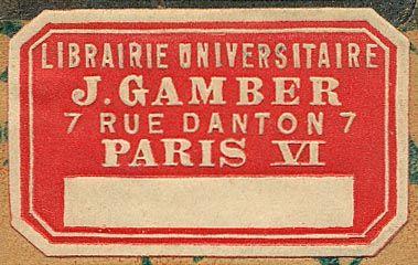 J.Gamber, Librairie Universitaire, Paris, France (31mm x 19mm, ca.1890s)